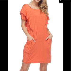 Knit Ruffle-Sleeve Shift Dress